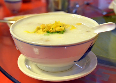 Congee with BBQ Pork
