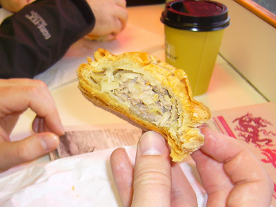 Inside a meat pie