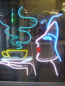 Neon coffee babe