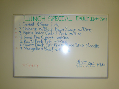 Harbor City Lunch Menu