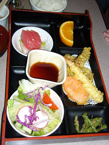 Two Choice Lunch: Tuna Sashimi + Tempura Shrimp and Vegetables