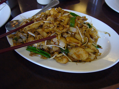 XO Sauce Pan-Fried Noodles with Sliced Fish + Pea Vine Greens