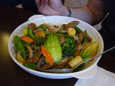 Beef and Fresh Vegetables on Rice