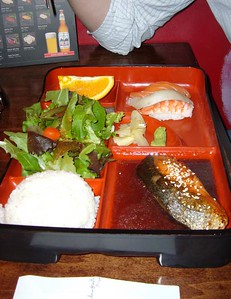 Bento Box with Salmon Teriyaki and Sushi