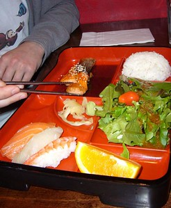 Bento Box with Salmon Teriyaki and Sushi (again)