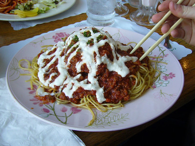 Spaghetti - Meat Sauce with Hamburger Steak and Garlic Flavored Mayo