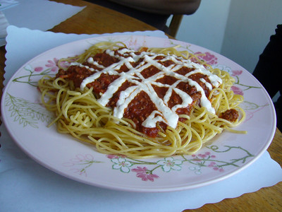 Spaghetti - Meat Sauce topped with Garlic Flavored Mayonnaise