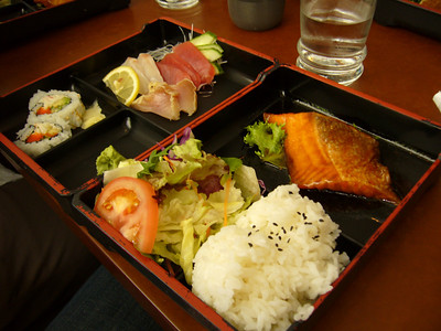 Lunch Bento Special with Sashimi and Salmon Teriyaki