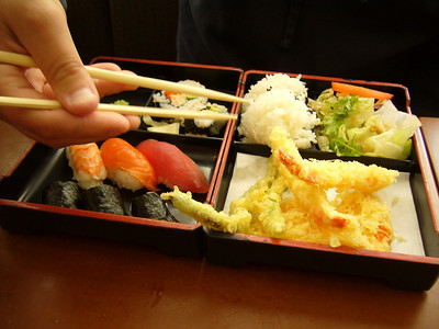 Lunch Bento Special with Sushi and Tempura