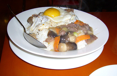 Fried Egg and Beef with Rice