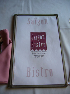 Saigon Bistro Menu Cover