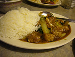 Chinese Greens and Black Bean Spareribs with Rice