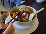 Noodles in Soup with Roast Duck and BBQ Pork