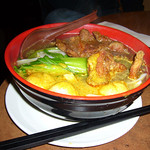 As You Like, Pick & Choose with (b) Deep Fried Pork Chop and (e) Curried Fish Balls on Rice Noodles