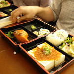 Lunch Bento Special with Salmon Teriyaki and Ginger Tofu