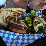 Darth Rueben - Roasted-tomato Field Roast, Ementhaler swiss cheese, sauerkraut and remoulade toasted on marbled rye.