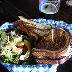 Darth Rueben - Roasted-tomato Field Roast, Ementhaler swiss cheese, sauerkraut and remoulade toasted on marbled rye