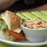 Curried Chicken Salad Sandwich on Ciabatta with Orzo Salad