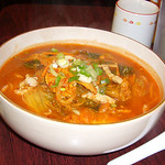 Kimchi Pork Noodle Soup with Hand Tossed Noodles