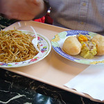 Lunch Special: Chow Mein, Shu Mai, and Fried Meat Turnover